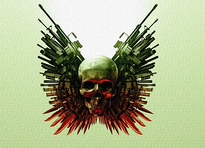 skulls, guns, The Expendables - random desktop wallpaper