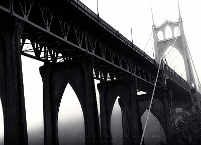 mist, bridges, monochrome, Portland, Greg Martin, arches - desktop wallpaper