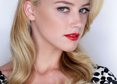 blondes, women, blue eyes, actress, fashion, Amber Heard, white background, red lipstick - desktop wallpaper