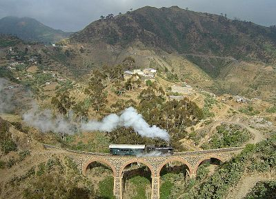 steam, mountains, landscapes, architecture, trains, bridges, buildings, railroad tracks - desktop wallpaper
