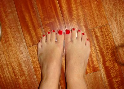 red, feet, nail polish - desktop wallpaper