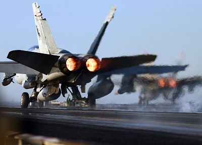 military, navy, take off, planes, aircraft carriers, F-18 Hornet - desktop wallpaper