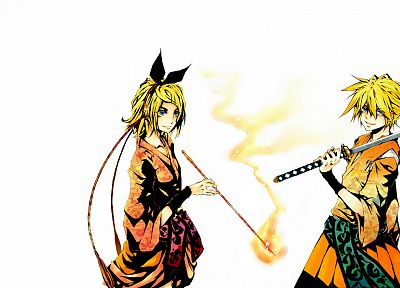 Vocaloid, katana, Kagamine Rin, blade, Kagamine Len, yellow hair - desktop wallpaper