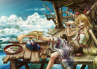 blondes, clouds, Touhou, cats, food, demons, houses, skirts, horns, long hair, belts, Oni, red eyes, bows, sitting, drunk, chains, Demon Girl, sake, wink, cuffs, skyscapes, Ibuki Suika, sakazuki - related desktop wallpaper