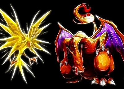 Pokemon, Zapdos, Charizard, black background - related desktop wallpaper
