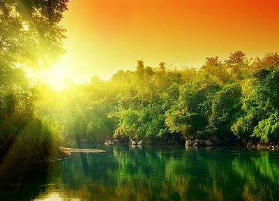 water, sunset, trees, rivers - related desktop wallpaper