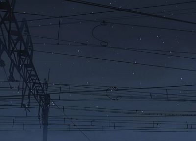 Makoto Shinkai, power lines, 5 Centimeters Per Second - desktop wallpaper