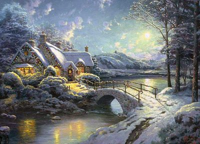 winter, snow, white, Moon, moonlight, Christmas, artwork, Thomas Kinkade, cottage - random desktop wallpaper