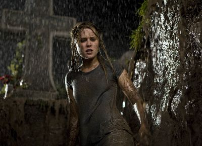 cross, rain, flowers, mud, Alison Lohman, Drag Me to Hell - random desktop wallpaper