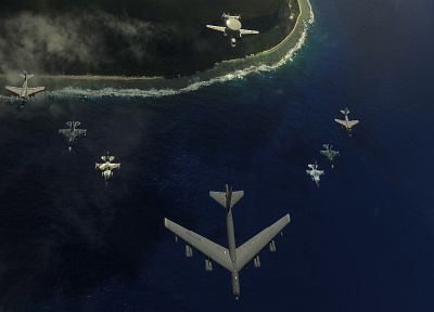 aircraft, B-52 Stratofortress, F-16 Fighting Falcon, EA-6B Prowler - random desktop wallpaper