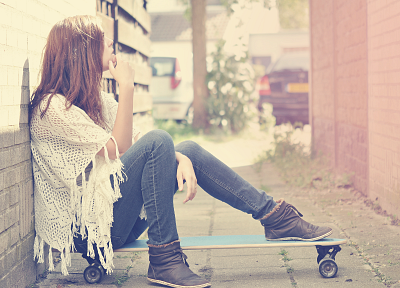 women, redheads, longboard, self portrait, portraits - related desktop wallpaper
