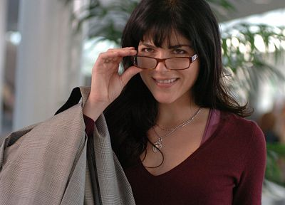 women, glasses, Selma Blair, necklaces, girls with glasses - random desktop wallpaper