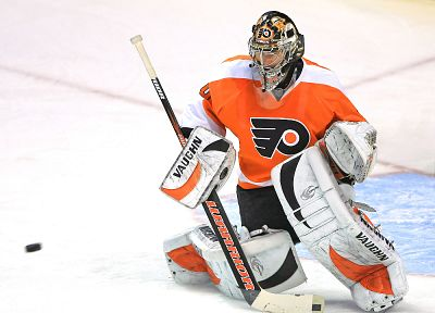 hockey, NHL, goalie, Philadelphia Flyers - random desktop wallpaper