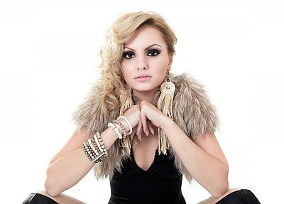 blondes, women, celebrity, brown eyes, Alexandra Stan - related desktop wallpaper