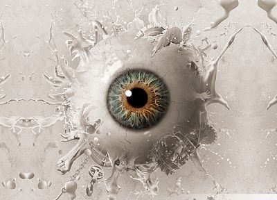 eyes, hands, pupil, digital art, chains, splashes - random desktop wallpaper