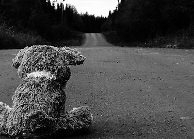 sad, roads, stuffed animals, monochrome, teddy bears - random desktop wallpaper