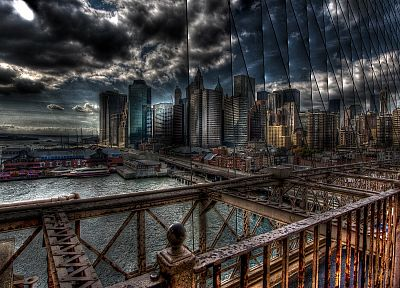 clouds, piers, buildings, New York City, boats, vehicles, HDR photography - desktop wallpaper