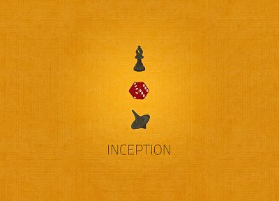 minimalistic, text, Inception, dice, chess pieces, token, yellow background - desktop wallpaper