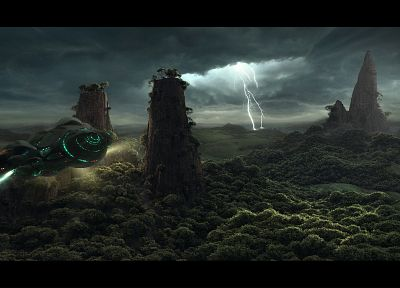 forests, CGI, bolt, spaceships, science fiction, vehicles, lightning - random desktop wallpaper