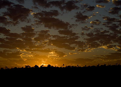 sunset, clouds, landscapes, silhouettes, Windows Vista, skyscapes - random desktop wallpaper