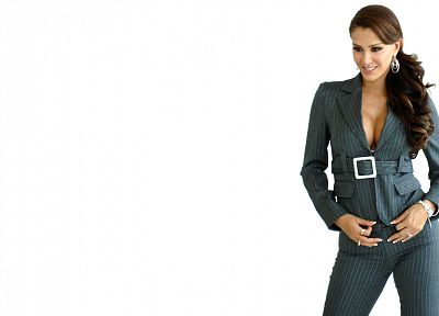brunettes, women, pants, cleavage, jackets, Latina, Ninel Conde, earrings, white background - related desktop wallpaper