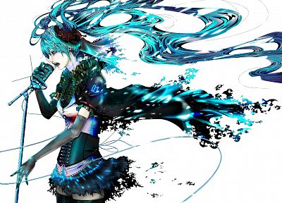 Vocaloid, white, Hatsune Miku, twintails, aqua hair - random desktop wallpaper