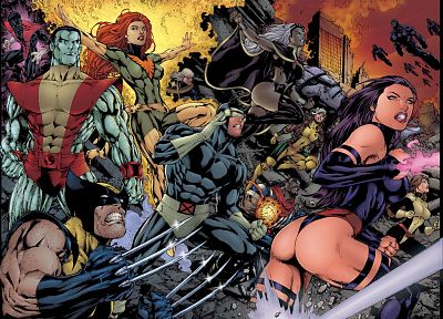 comics, X-Men, Wolverine, Psylocke, colossus, Rogue, Marvel Comics, Cyclops, Nightcrawler, Dark Phoenix, Storm (comics character) - random desktop wallpaper