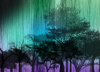 abstract, trees, multicolor - desktop wallpaper