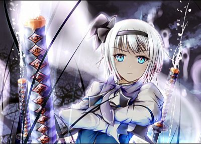 close-up, video games, Touhou, blue eyes, katana, tie, Konpaku Youmu, short hair, bows, white hair, aqua eyes, swords, fighters - random desktop wallpaper