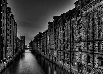 water, cityscapes, architecture, buildings, grayscale, monochrome, lakes - random desktop wallpaper