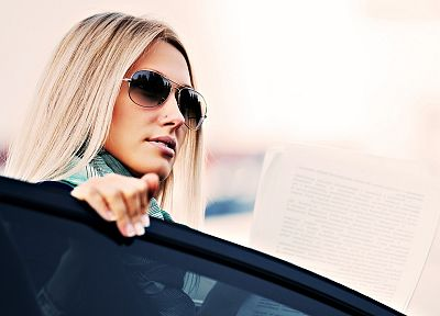 blondes, women, cars, pierced, sunglasses, faces - desktop wallpaper