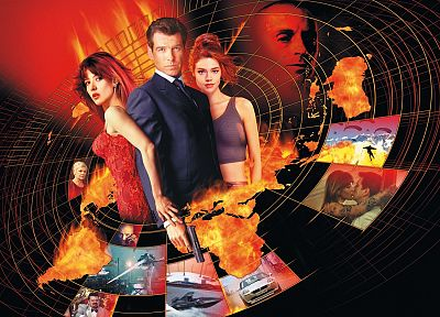 Sophie Marceau, James Bond, Denise Richards, Pierce Brosnan - random desktop wallpaper