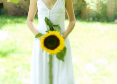 blondes, women, white dress, sunflowers - random desktop wallpaper