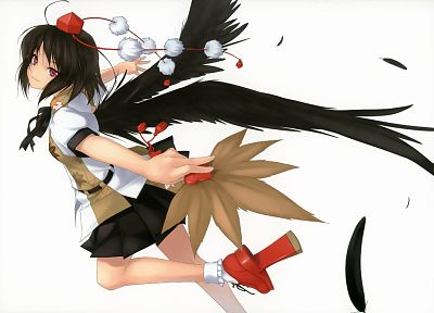 brunettes, video games, Touhou, wings, skirts, feathers, red eyes, short hair, Shameimaru Aya, simple background, tengu, looking back, white background, geta, Rokuwata Tomoe, fans - desktop wallpaper