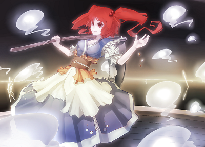 women, Touhou, scythe, redheads, weapons, shinigami, short hair, Onozuka Komachi - random desktop wallpaper