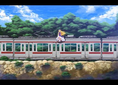 boots, blondes, video games, clouds, Touhou, trees, dress, trains, long hair, ribbons, outdoors, Yakumo Yukari, bows, power lines, sitting, vehicles, purple eyes, white dress, hats, anime girls, hair ornaments, tabard, skies - related desktop wallpaper