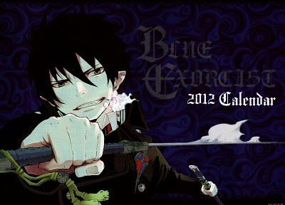 calendar, anime, anime boys, Ao no Exorcist, Okumura Rin, swords, black hair - desktop wallpaper