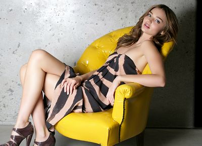 brunettes, women, Miranda Kerr, dress, models, armchairs - random desktop wallpaper