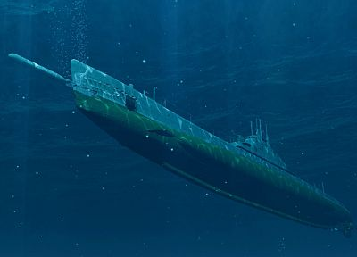 submarine, underwater - desktop wallpaper
