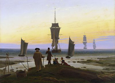 ships, Caspar David Friedrich - random desktop wallpaper