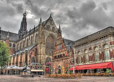 clouds, trees, cityscapes, architecture, buildings, Europe, Holland, cathedrals, HDR photography, Haarlem - desktop wallpaper
