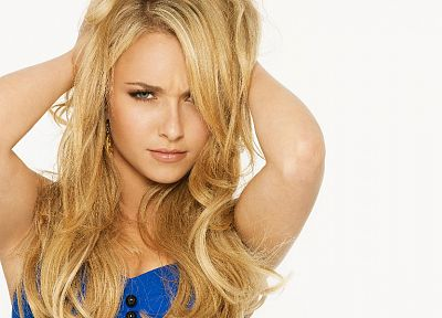 blondes, women, actress, Hayden Panettiere, celebrity, white background - desktop wallpaper