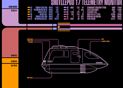 Star Trek, Star Trek The Next Generation, shuttle, LCARS, Star Trek schematics - random desktop wallpaper