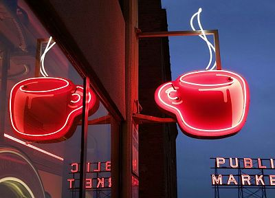 market, coffee, Seattle, pikes, Washington, neon - random desktop wallpaper