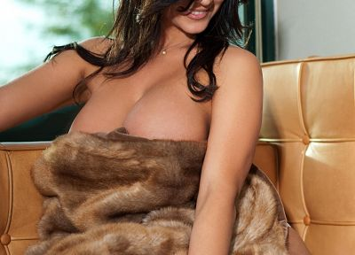 women, cleavage, Denise Milani, fur coat, girls with cars - desktop wallpaper