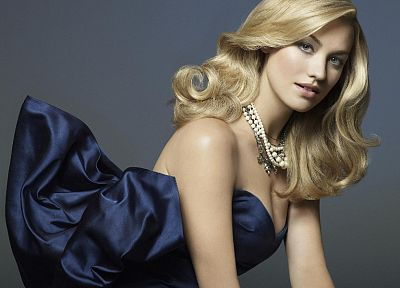 blondes, women, fashion, Yvonne Strahovski, blue dress - related desktop wallpaper