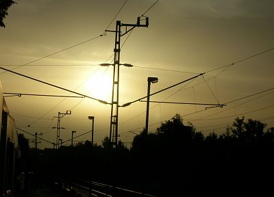 Germany, trains, railroad tracks, power lines, vehicles - desktop wallpaper