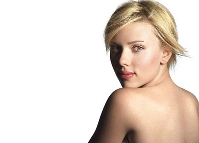blondes, women, Scarlett Johansson, actress, simple background, looking back, white background - related desktop wallpaper