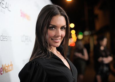 brunettes, women, actress, smiling, red carpet, black dress, Taylor Cole - desktop wallpaper