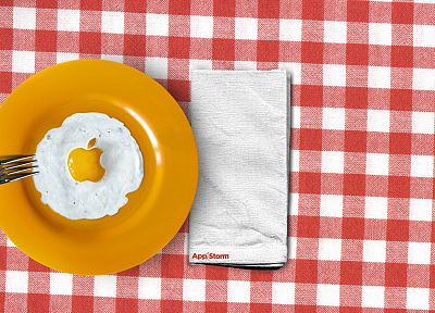 eggs, Apple Inc., logos, forks, fried eggs - related desktop wallpaper